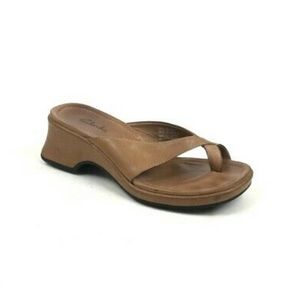 Clarks Square Heel Leather Sandals